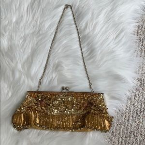 Vintage gold beaded clutch purse with chain